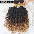 Malasia Virgen Jerry Del Pelo Spiral Curl Barato Ombre Cabello Humano Rizado armadura 3 o 4 Bundles Hinchable Rizo Rizado Pelo Virginal rizado OS1