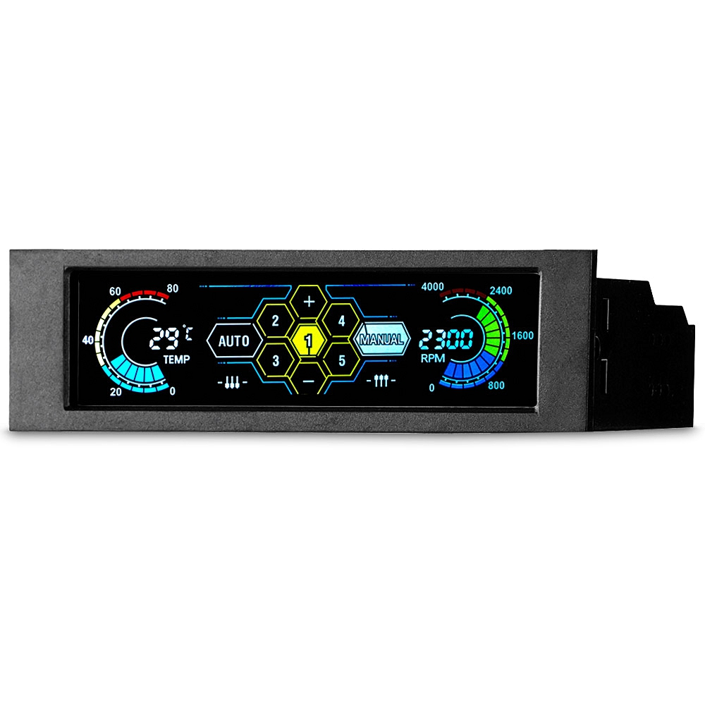 STW 5.25 5 Channel Touchscreen Fan Controller Temperature Monitor Automatic Speed Control Cooler LCD Front Panel 1pcs stw 6041 pc front panel fan speed controller with fan rpm and temperature lcd display