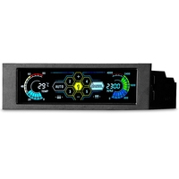 """STW 5.25"""" 5 Channel Touchscreen Fan Controller Temperature Monitor Automatic Speed Control Cooler LCD Front Panel
