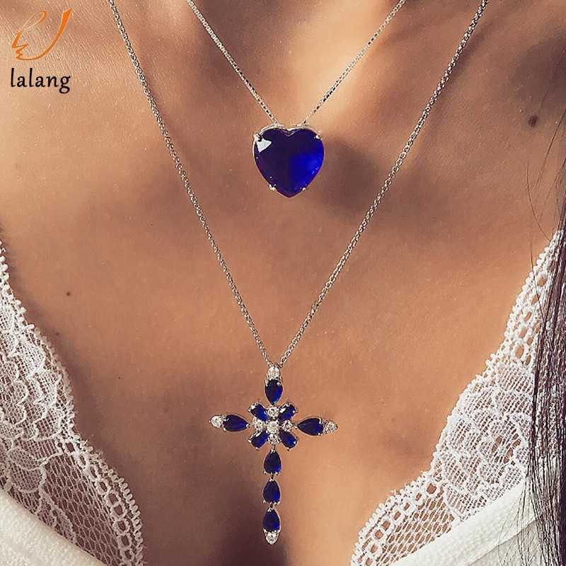 Multilayer Blue Crystal Heart Cross Pendant Necklace for Women Fashion Rhinestone Ocean Jewelry Choker Valentine's Day