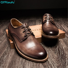 QYFCIOUFU New Fashion 2019 Spring Autumn Men Dress Shoes Business Genuine Leather Vintage Work Lace-up Round Toe