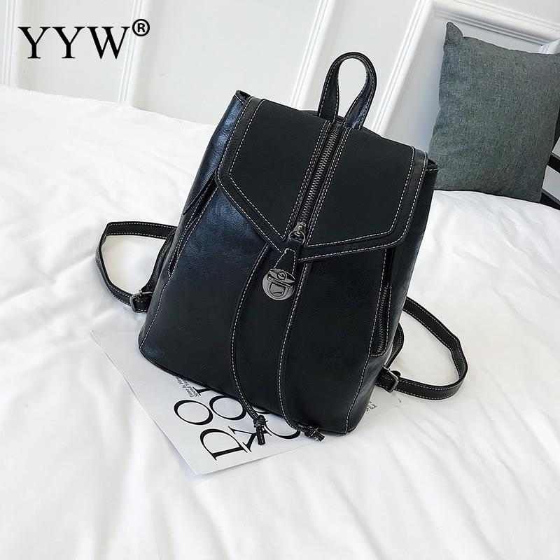 Backpack bag PU leather women female school teenager shoulder bags fashion casual leisure backpacks college youth rucksack 2018 стоимость