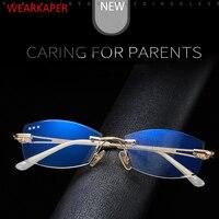 WEARKAPER анти-голубые световые очки для чтения женские очки без оправы с бриллиантами высокопрозрачные женские очки для чтения пресбиопически...