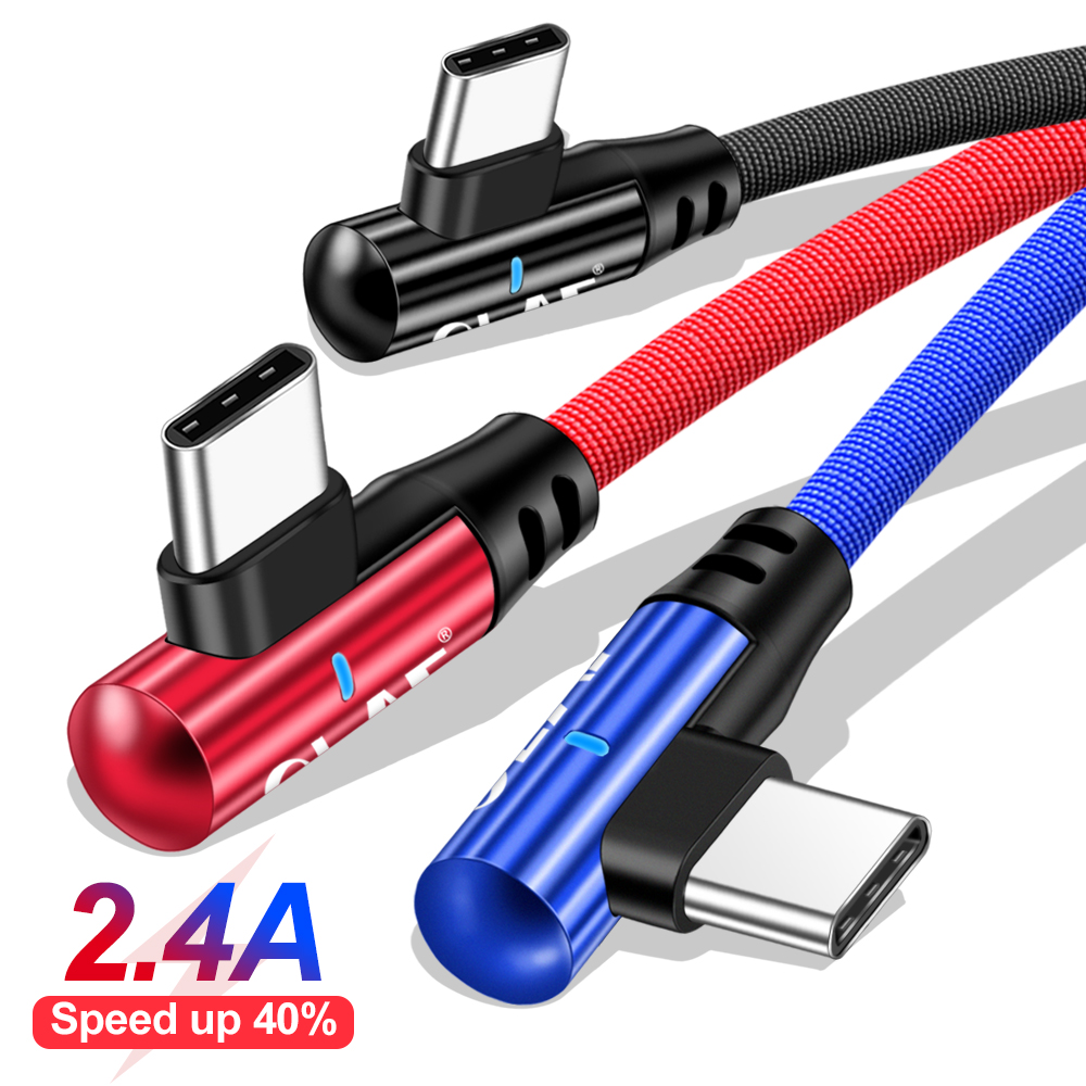 OLAF 90 Degree Elbow 2.4 A Fast Charge USB Type C Cable For Xiaomi Redmi Note 7 USB C Cable for Samsung S8 S9 Fast Charging Cord Mobile Phone Accessories Mobile Phone Cables Smartphones