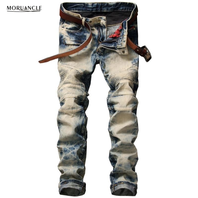 Vintage Mens Biker Jeans Joggers Famous Brand Designer Moto Denim Pants For Man Fashion Pleated Jeans Trousers High Quality 2016 fashion jeans men solid casual overalls style denim pants mens biker jeans high quality famous brand straight trousers h013