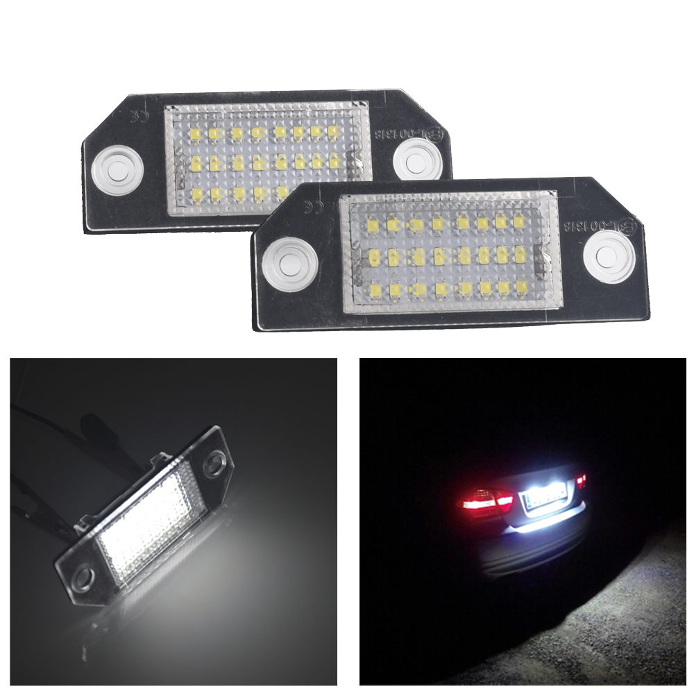 2pcs Car LED Direct installation No Error Lamps License Number Plate Lights For Ford Focus 2 3 MK2 03-08 C-MAX direct fit for kia sportage 11 15 led number license plate light lamps 18 smd high quality canbus no error car lights lamp page 7