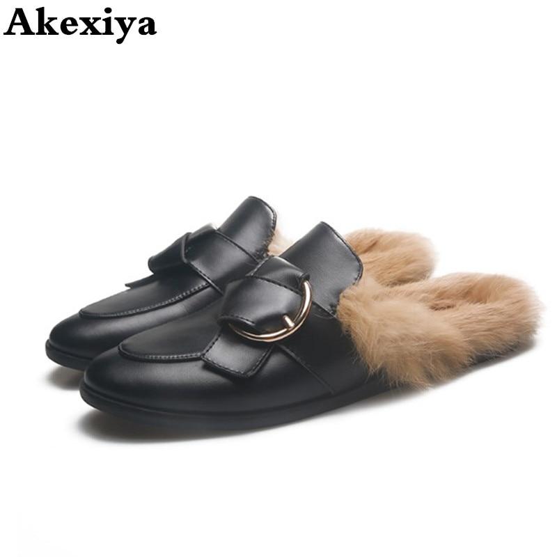 Slippers Fur women shoes outdoor Rabbit hair Mules shoes women Slip On Half slipper winter Leather