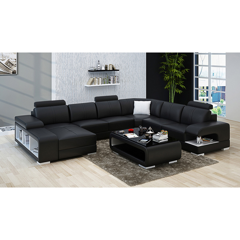 Black Leather Sofa Set 7 Seater