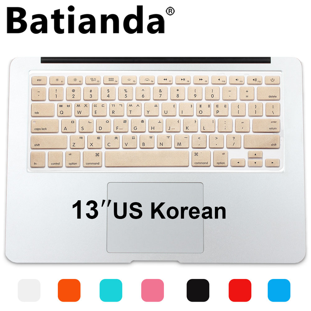 various colors 7d5ef 894a4 New Korean Keyboard US Version Silicone Protector Stickers Skin For Apple  Macbook Air 13 Mac Pro 13 15 17 Retina Keyboard Cover-in Keyboard Covers ...