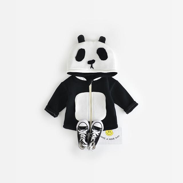 Bebê Crianças Casaco 2016 Outono Inverno Unissex Meninas Meninos Panda Panda Bonito Padrão Animal Casaco de Apoio