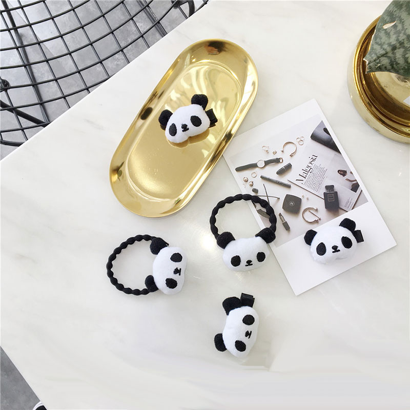 Cute Cartoon Plush Little Panda Hair Ropes Elastic Rubber Bands Girls Baby Hair Pin Duckbill Clips Headwear Kid Hair Accessories