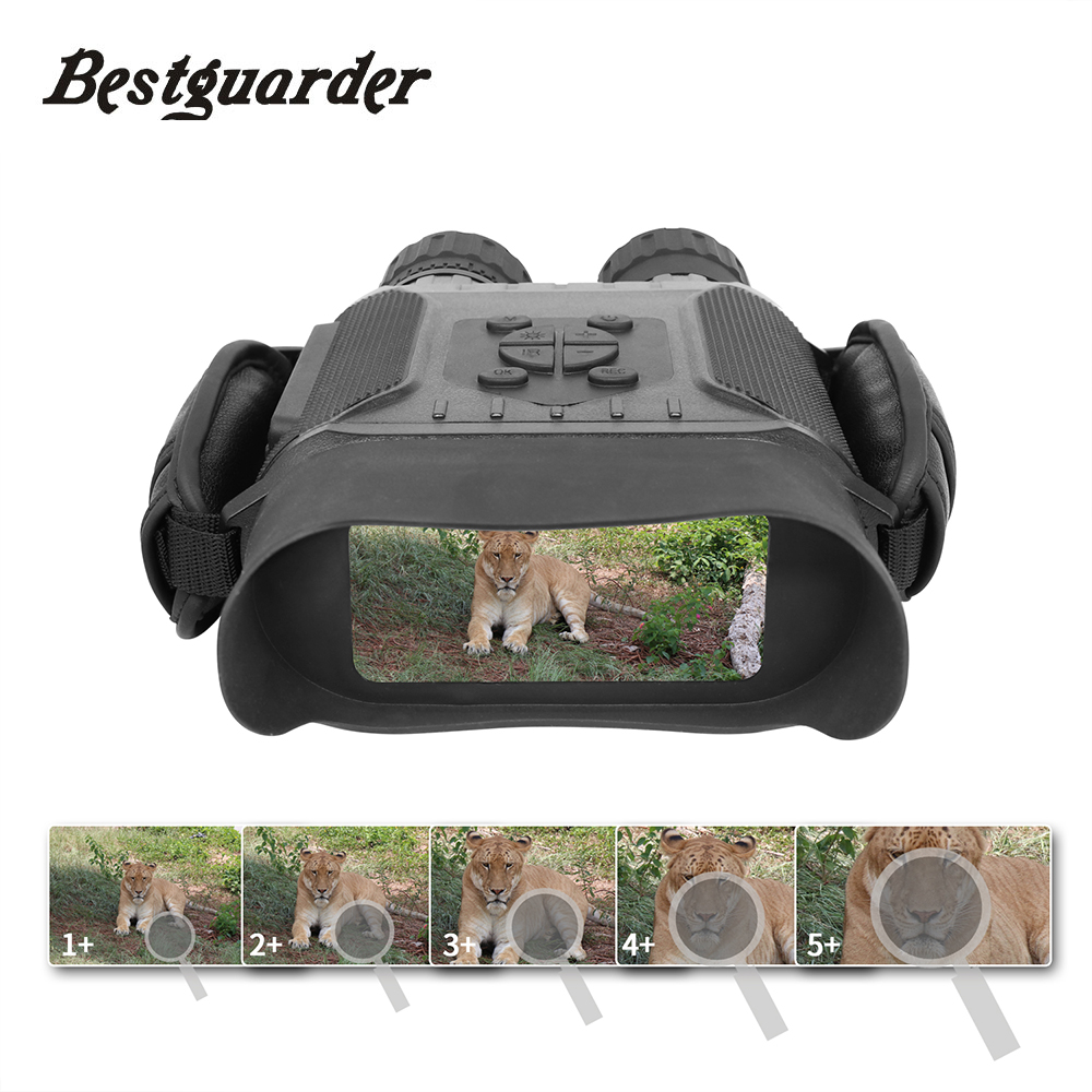 Bestguarder vision nocturne Time Lapse Télescope Jumelles Chasse 400 M Grand Écran 5x Zoom 4.5X40mm 32G Infrarouge monoculaire Cadeaux