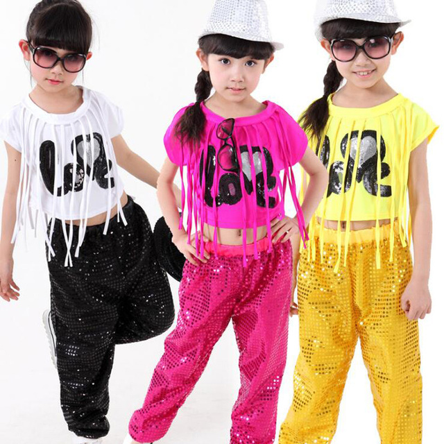 287afb799 Children Jazz Dance Costumes Tops Pants Girls Sequined Ballroom ...