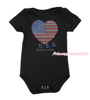 4th July Rhinestone USA Flag Heart Baby White Black Jumpsuit Romper NB-12Month TH488