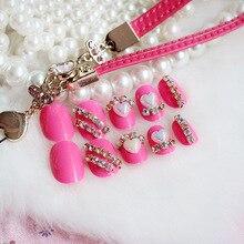 24pcs/1box pink 3D DIY Diamond Nail Sticker flower Designs Decals Nail Art Stickers Wraps Decorations Manicure Tools for Polish