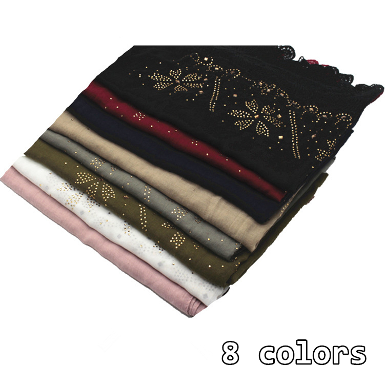 8 colors rhinestone embroider flower edges scarf scarves plain maxi hijab elegant women shawls solid muslim headband