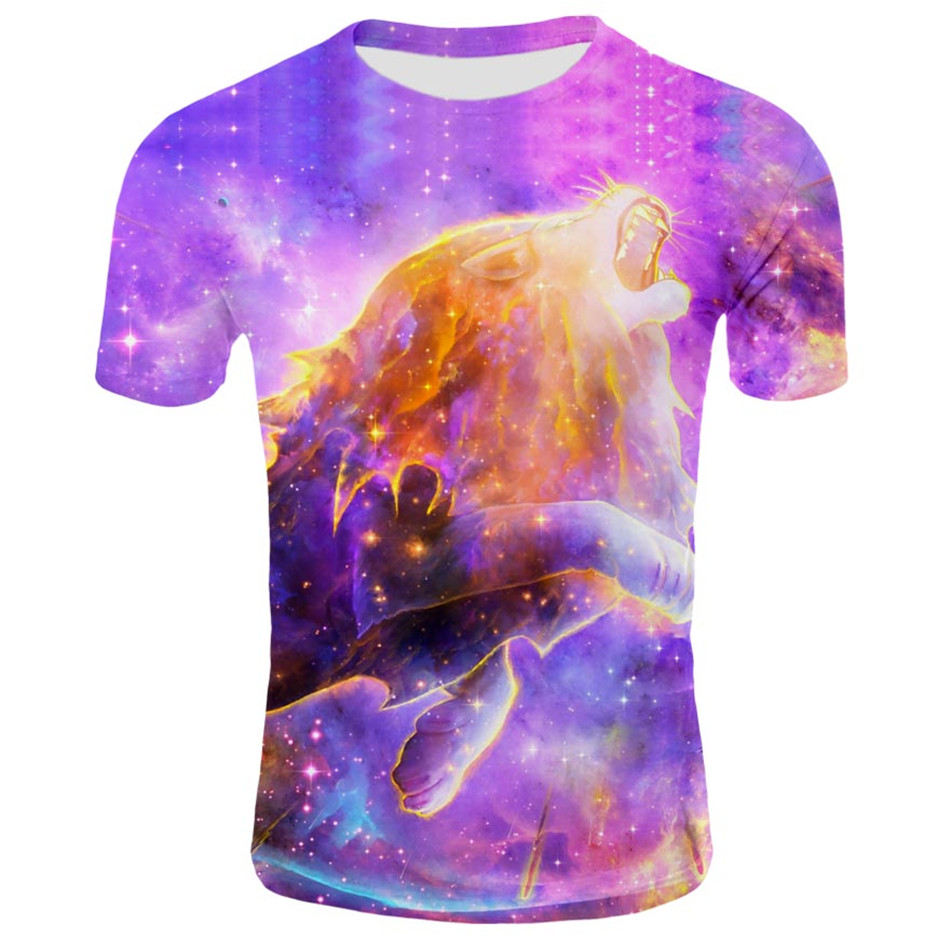 T-Shirt Cloud-Star Universe Girls Big Boys Fashion Children Summer Lion Leo 3D Animal