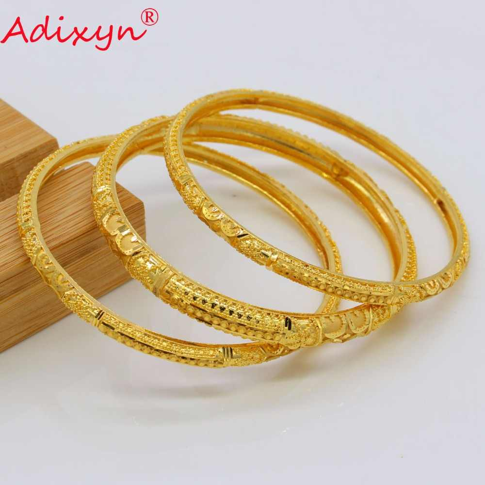 Adixyn 7cm/2.8inch Dubai Bangles For Women Gold Color Bracelets Ethiopian/Arab/Middle East Party Gifts 3Pcs Mix N07013