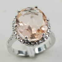 Morganite White Topaz Women 925 Sterling Silver Ring F974 Size 6 7 8 9 10