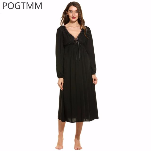 Mulheres Camisolas de Manga Longa Sexy V Pescoço Longo Nightgowns Ladies Lace Pijamas 100% Rayon Roupa Backless Roupas Femininas Em Casa 3