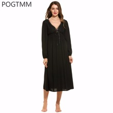 Women Nighties Sexy V Neck Long Nightgown Lady Lace Sleepwear Nightwear Backless Home Sleep Wear Clothes Female Nightdress L3