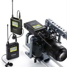 Saramonic UWMIC9 Yayın UHF Kamera Kablosuz Yaka Mikrofonu Sistemi Canon DSLR Kamera için Iki Vericiler Tek Alıcı