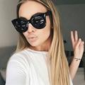 AFOFOO Fashion Cat Eye Sunglasses Luxury Brand Designer Vintage Rivet Women Mirror Sun glasses UV400 Shades Big Frame Eyewear