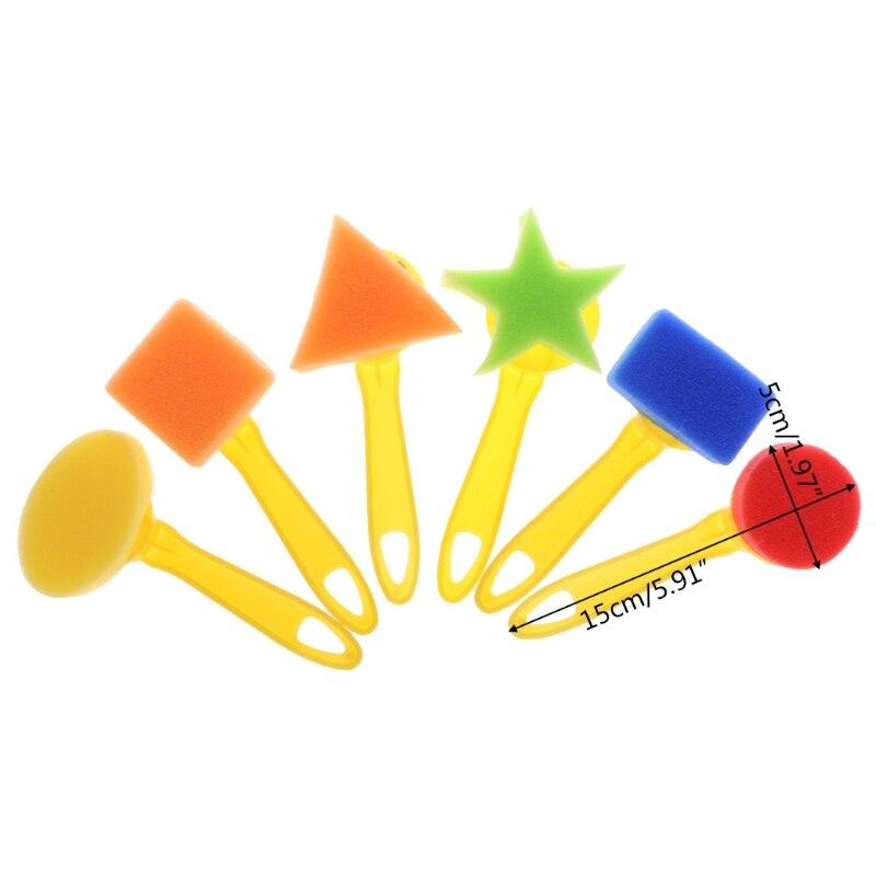 6 Stks Kleuterschool Onderwijs Speelgoed Diy Schilderij Borstels Graffiti Tekening Speelgoed Plastic Spons Seals Set Voor Kinderen Duurzame Modellering