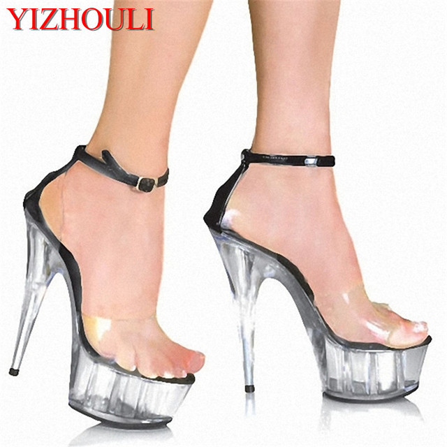 7862f0880184 15cm women fashion Platform Sandals sexy clubbing Exotic Dancer shoes 6  inch strappy Crystal shoes made in china