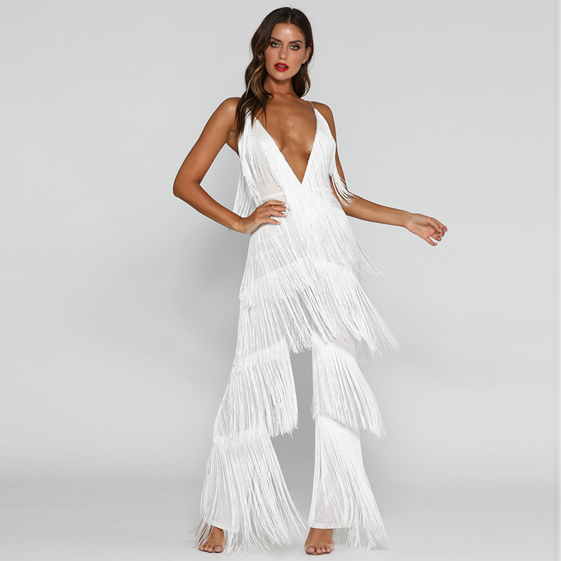 Tobinoone Autumn Tassel V Neck Sexy Jumpsuit Women white Elegant Long Jumpsuits Rompers Womens Backless Bodysuit Plus Size 3