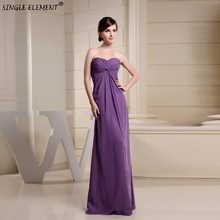 SINGLE ELEMENT Long Pleated Chiffon Bridesmaid Dress With Lace Jacket 2019