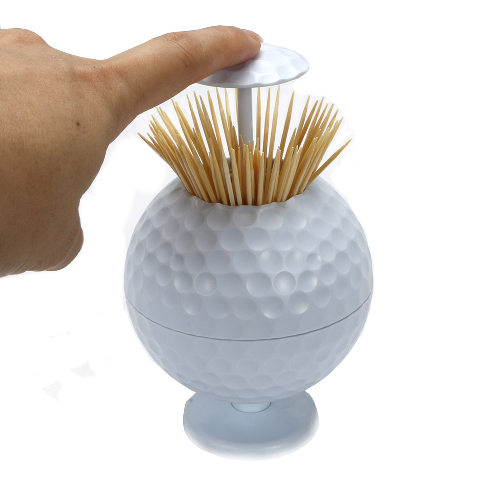 Golf ball Toothpick Pressing Automatic Toothpick Box Personality Portable Toothpick Bucket free shipping-in Golf Training Aids from Sports & Entertainment