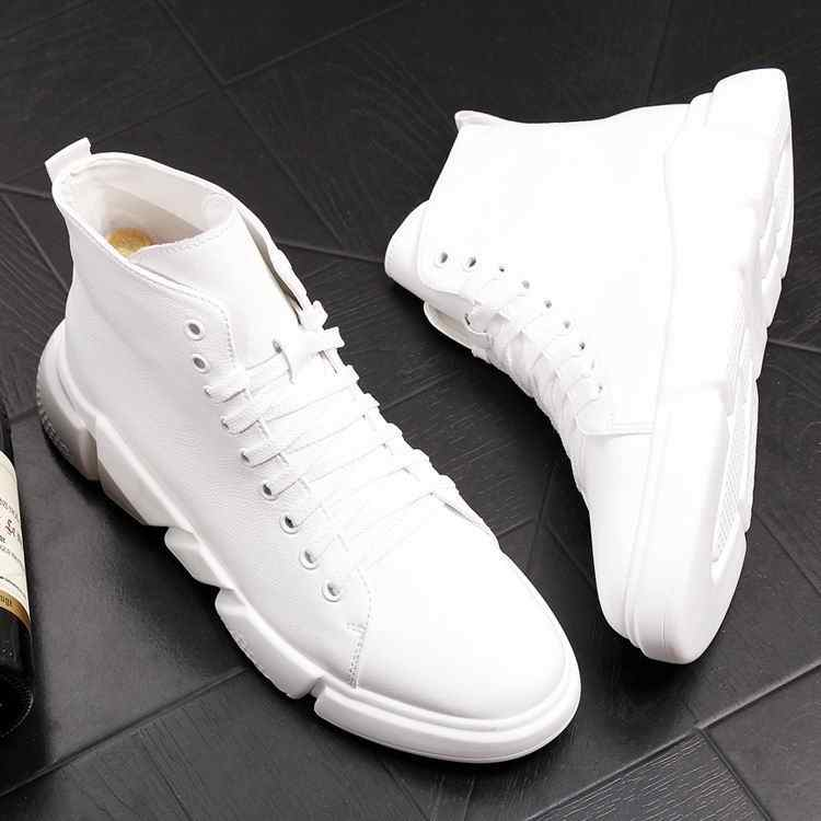4b7c34c02b ... ERRFC New Arrival Pure White Mens Casual Comfort Shoes High Top Round  Toe Lace Up Man ...