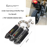 For Benelli 600 Exhaust Pipe Motorcycle Dual outlet Mid Slip On 2 51mm Exhaust Muffler Pipe Rear Escape TNT600 BN600 BJ600