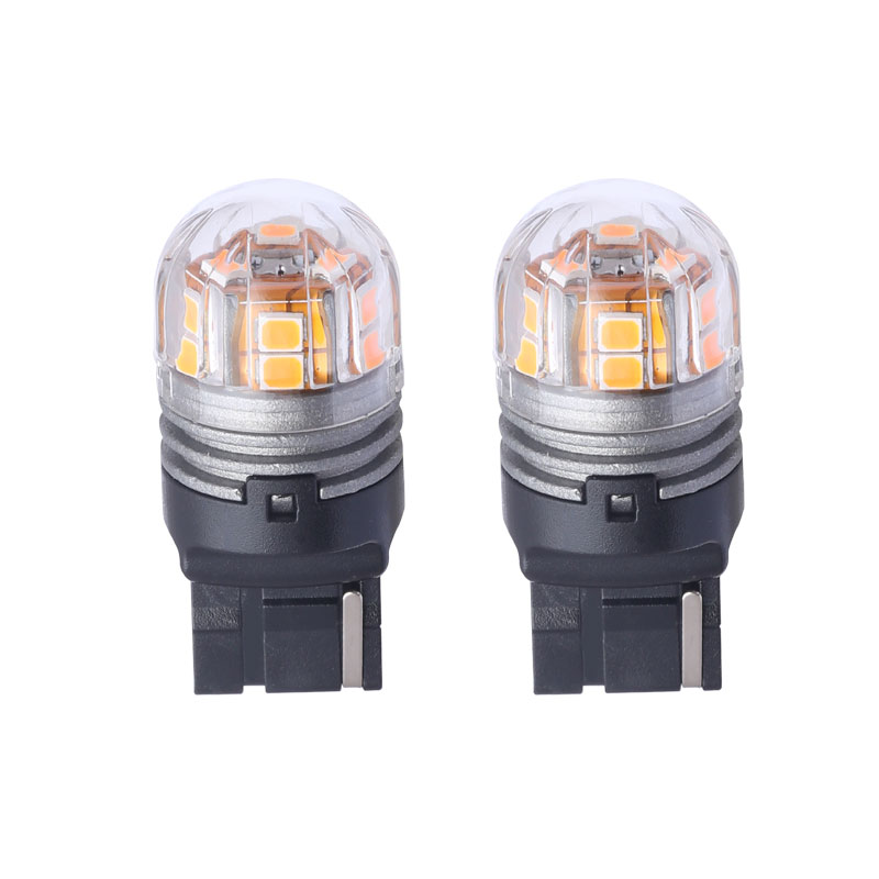 Pair T20 7440 Automobile LED Brake Lights Front Rear Turn Signal Lamp Wholesale 3000K Yellow Lights LED Cars Bulbs