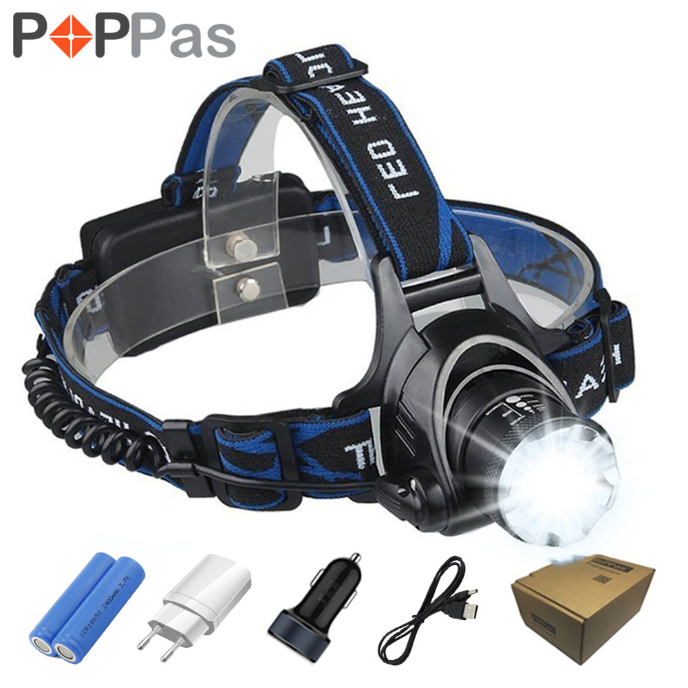 POPPAS LED CREE XM-L T6 L2 Chips Headlight Headlamp Rechargeable Zoom Light Lamp 2x18650 Battery+Car Charger Flashlight Camping singfire sf 606 800lm 4 mode diving waterproof flashlight w cree xm l t6 battery charger 2x18650