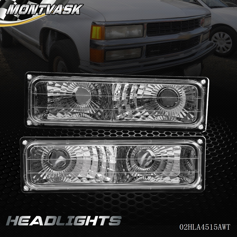 New Bumper Lamps Chrome For CHEVY 1994-1998 C10 C/K Tahoe Suburban Silverado xyivyg abs chrome 4 door handle 4pcs mirror gas cover 07 14 for chevy suburban tahoe