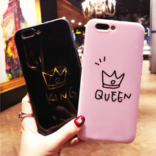 Phone Case For iPhone X 8 7 6 6s Plus King Queen Letter Crown Pattern Couples Soft TPU Back Cover Cases For iPhone X