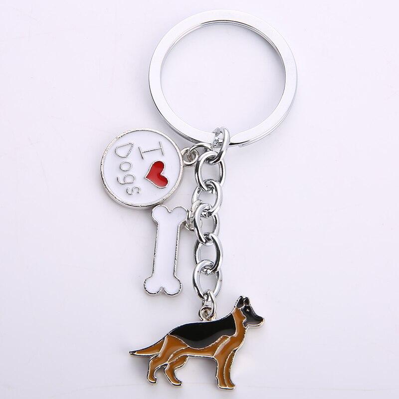 German Shepherd dog key chains for men women silver color metal alloy bone charm pendant male famle car bag keychain key ring цепочка german silver 46sm