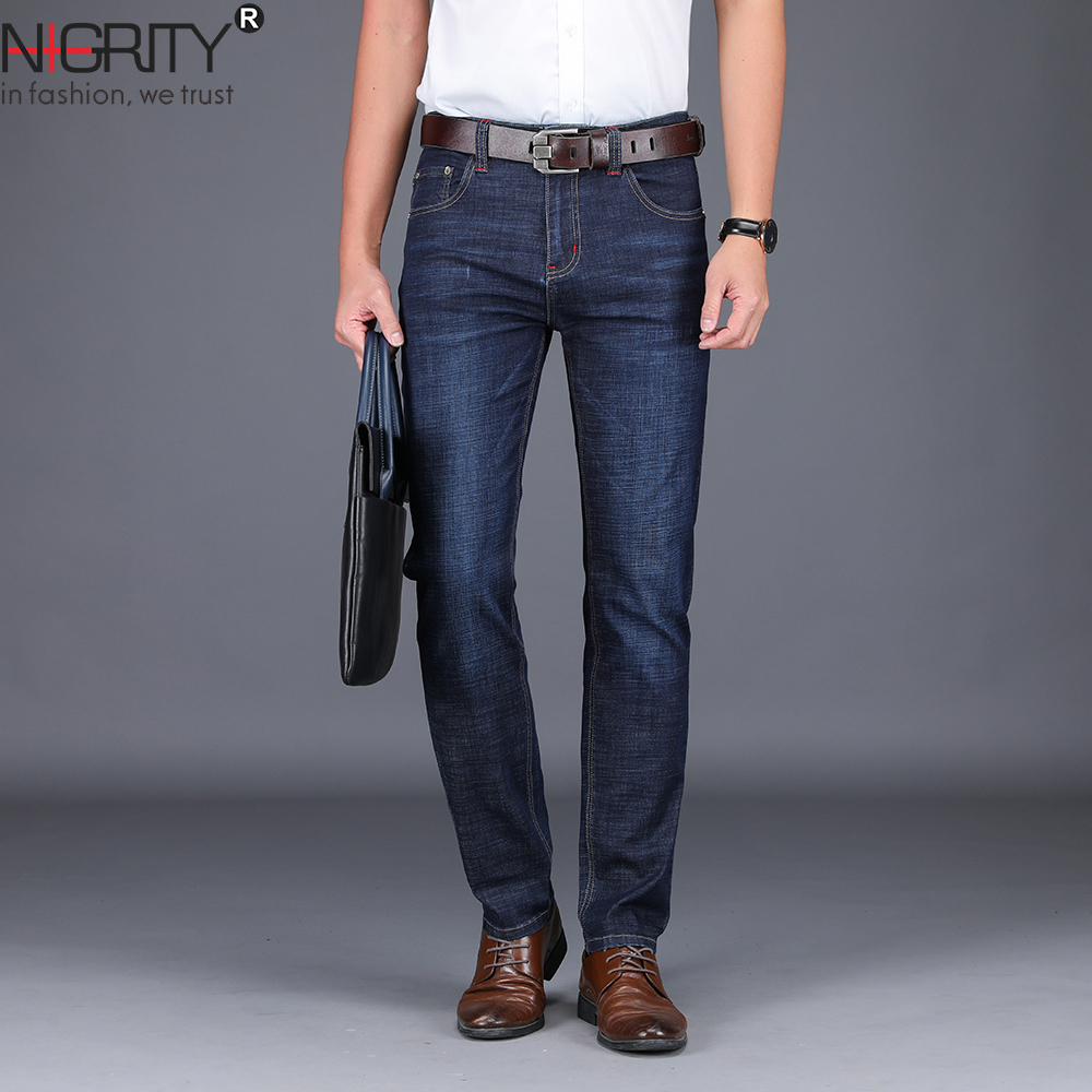 NIGRITY 2019 New Mens brand   jeans   Fashion Men Casual Straight High Stretch Feet skinny   jeans   men black hot sell male trousers
