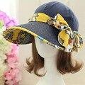 Moda Cara Protección Sombrero para el Sol Sombreros de Verano Para Mujeres Plegable Amplia Grandes Brim Ajustable Mujeres Sombrero de Playa anti-ultravioleta Visera Tapas 2016