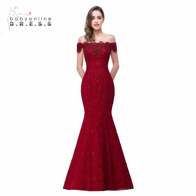 0fd967a1 Cheap Price Elegant Crystal Beaded Red Royal Blue Lace Mermaid Long Evening  Dresses 2019 Prom Party Dress Robe De Soiree Longue