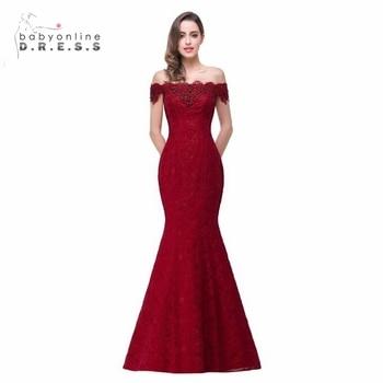 dbc018f87 Menos de  50 Elegante Rojo y Azul Real Vestidos Largos de Noche de Encaje  Con Cuentas de Cristales DE La Sirena 2017 Vestidos de Baile Robe De Soirée