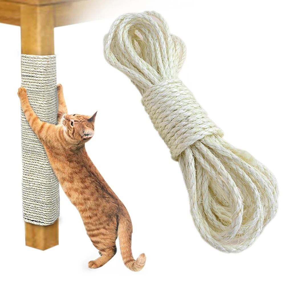 Cat Kicker Toys Natural Jute 164ft//50m Cat Tree Sisal Rope 6mm for Cat Scratcher Repair and Replace Cat Scratching Post DIY Scratching Furniture Scratch Carpet /& Mat