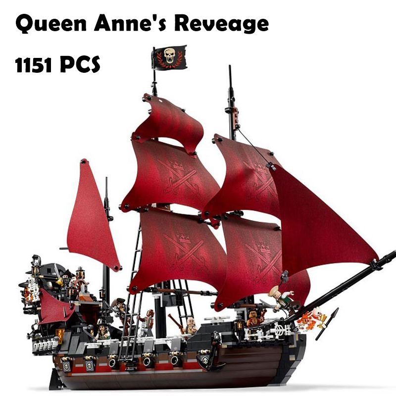 Model Building Blocks toys 16009 1151Pcs Caribbean Queen Anne's Reveage compatible with lego Pirates Series 4195 DIY toys hobbie free shipping new lepin 16009 1151pcs queen anne s revenge building blocks set bricks legoinglys 4195 for children diy gift