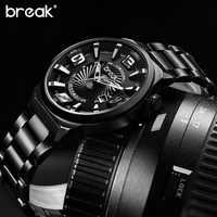 Relogio Masculino Break Creative Waterproof Stainless Steel Mens Watches Top Brand Luxury Sports Quartz Wrist Watch Clock Man