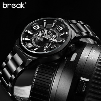 цены Relogio Masculino Break Creative Waterproof Stainless Steel Mens Watches Top Brand Luxury Sports Quartz Wrist Watch Clock Man