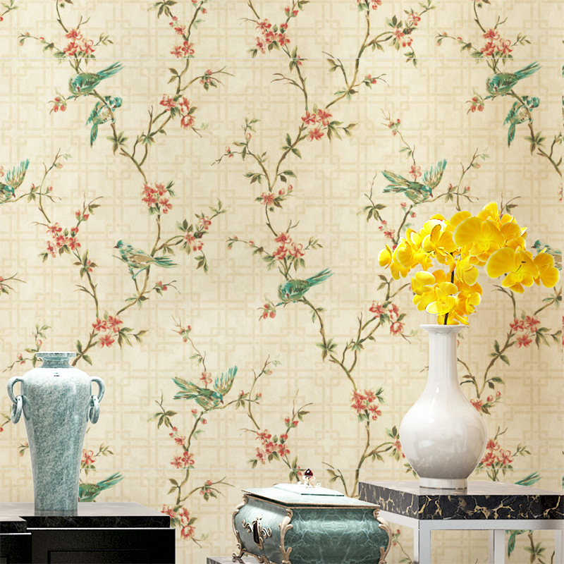 American rustic wallpaper floral classical 3d bird wall for Wallpapering a wall