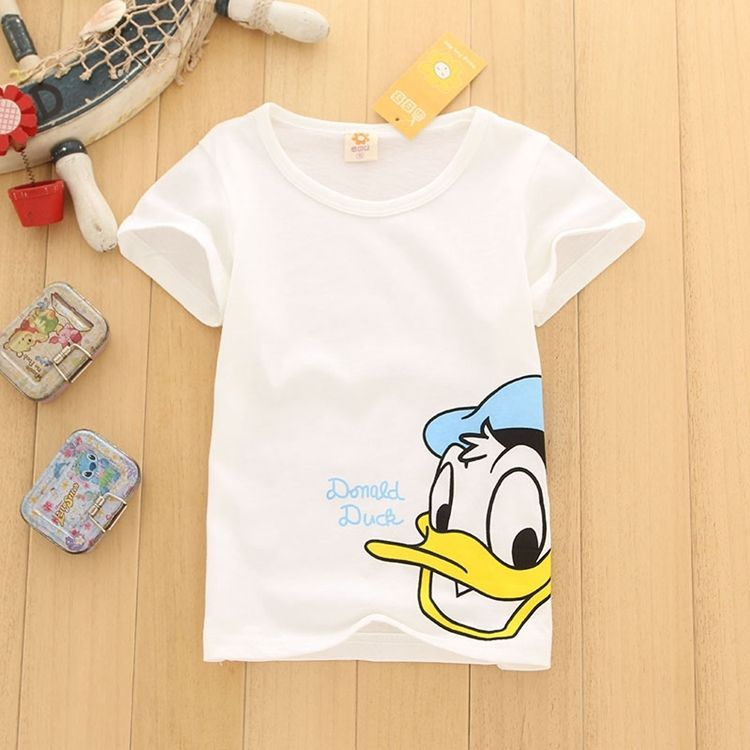 2018 Summer Kids Baby Boys Girls Clothes Yellow Duck Short Sleeve T-shirt Children Toddler Cartoon Boy Girl Tops Tees ...