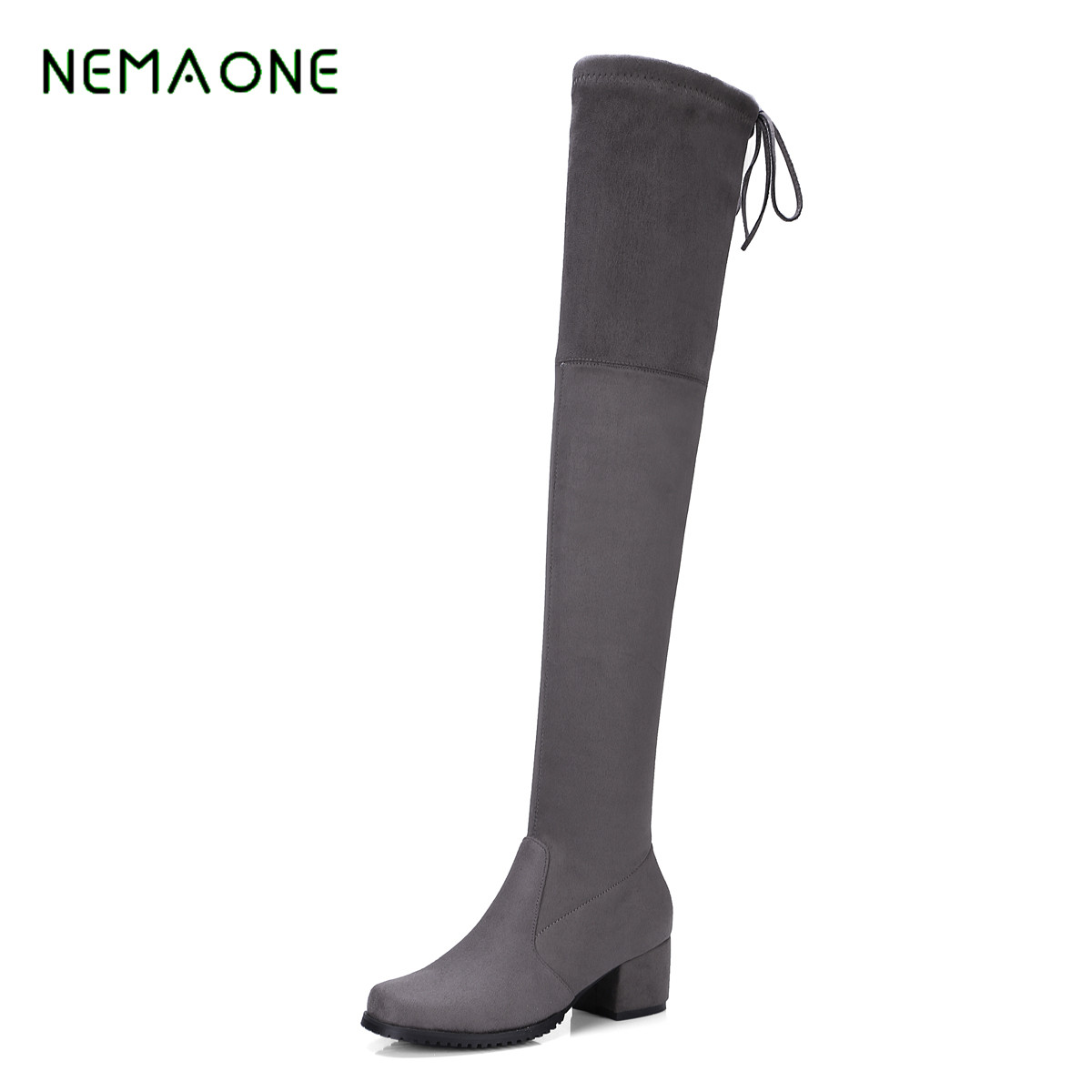NEMAONE 2017 Shoes Autumn Winter Over The Knee Boots fashion Heels Shoes Women Boots Designer Sexy Thigh High Boos yougolun women nubuck thigh high boots ladies autumn winter boots woman over the knee boots women 2017 square high heels shoes